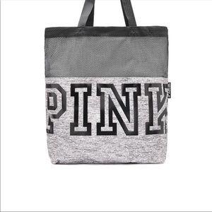 NWT PINK Victoria's Secret gray & black tote